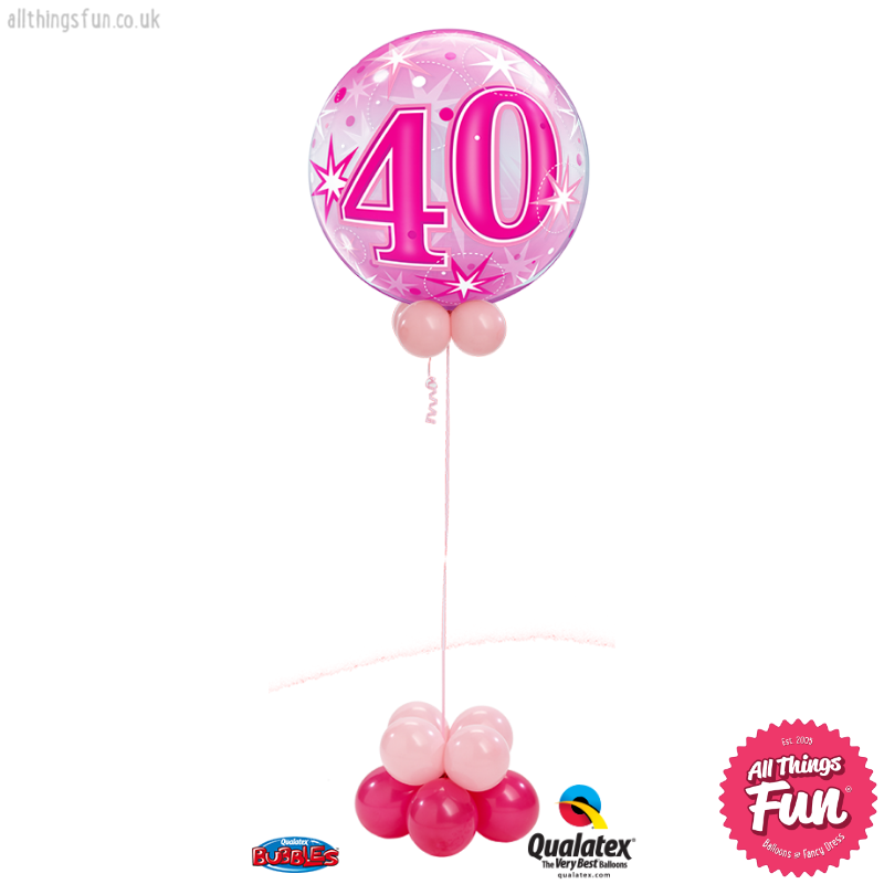 All Things Fun Pink Sparkle Birthday Bubble Design