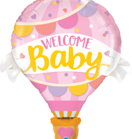Pioneer Balloon Company Printed Foil - Shape - Welcome Baby Pink Balloon