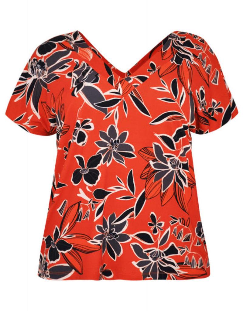 Yoek 9204182 Shirt double V-neck rood Yoek