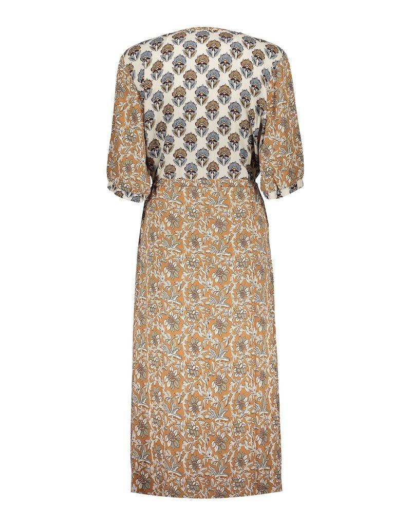 Geisha Dress combi print & strap at waist Sand 17135-20 Geisha