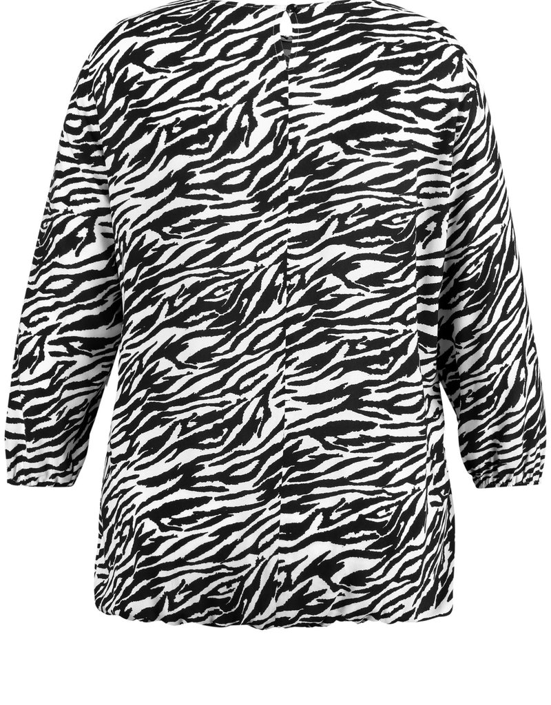 Samoon 660208-21018 Blouse zebra Zwart/wit Samoon