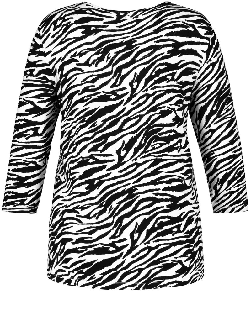Samoon 671016-26228 T-SHIRT zebraprint zwart/wit Samoon