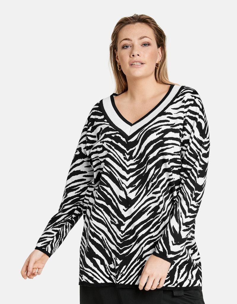 Samoon 672012-25109 PULLOVER zebraprint zwart/wit Samoon