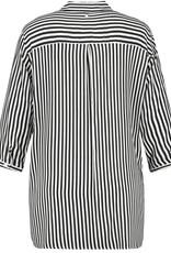 Samoon 960100-29173 Blouse streep zwart/wit Samoon