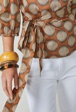 Summum Woman 2s2563-11385 Wikkelblouse stippen oranje Summum