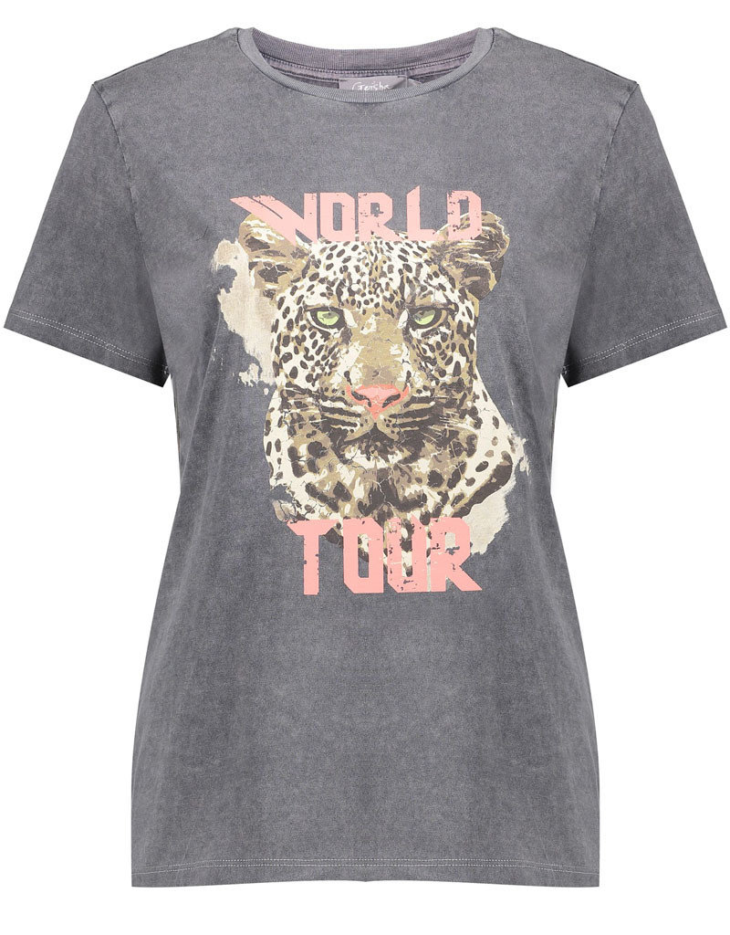 Geisha 12109-24 T-shirt acid dyed tiger head geisha