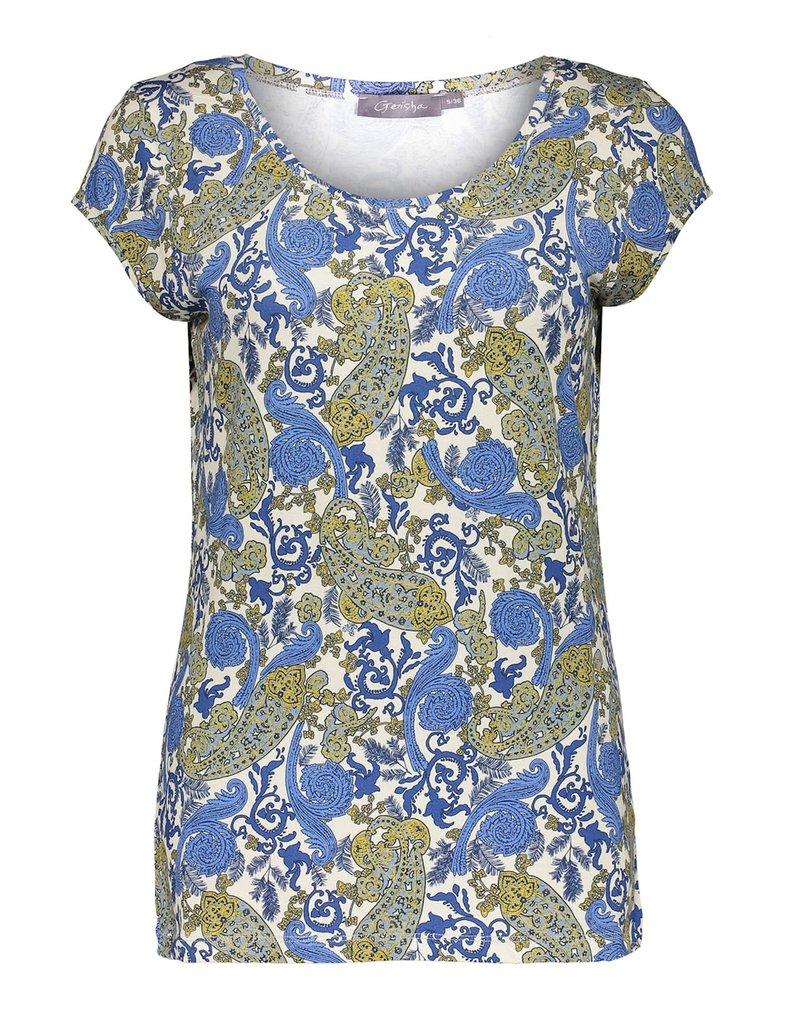 Geisha T-shirt AOP s/s blauw 12423-60 KATE Geisha