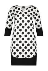 Ophilia May jurk Ophilia big dot wit/zwart