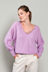 Summum Woman V-neck sweater feather taupe 7s5595-7833 Summum