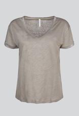 Summum Woman Tee foil coated linen jersey taupe 3s4496-30260 Summum