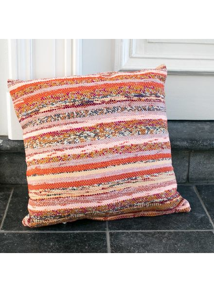 Just Julia Pillow Small - Orange / Pink stripe