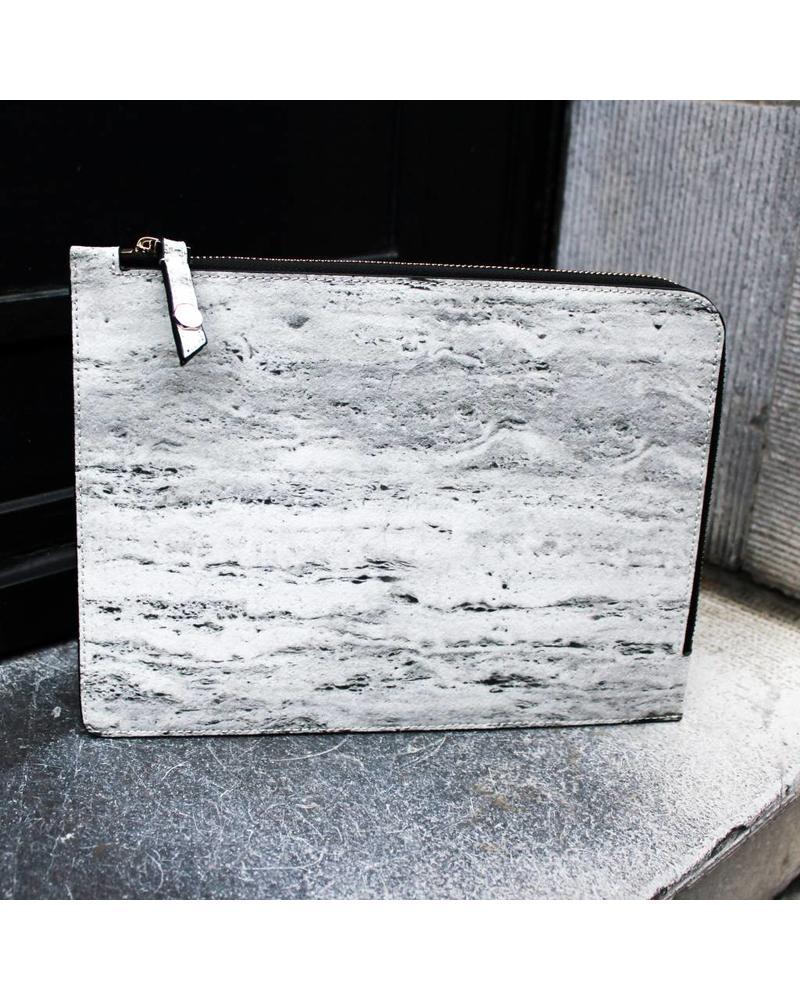 Marble Zip Clutch - Travertine