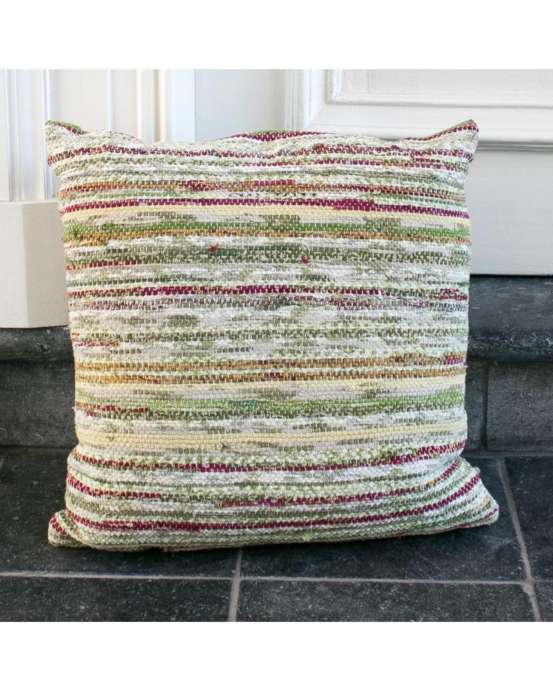 Just Julia Pillow Small - Green / white stripe