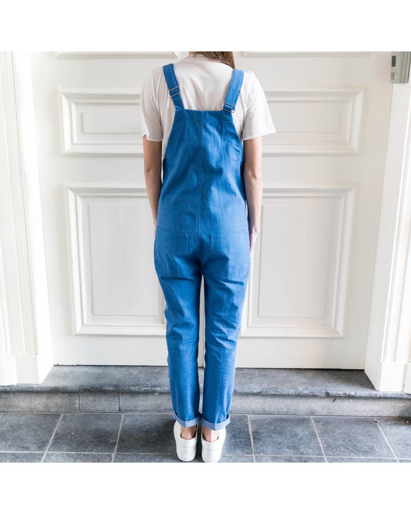 Matin Pocket Overalls Long - Blue denim