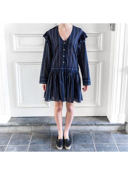 Matin Tavira Ruffle Dress - Navy Stripe