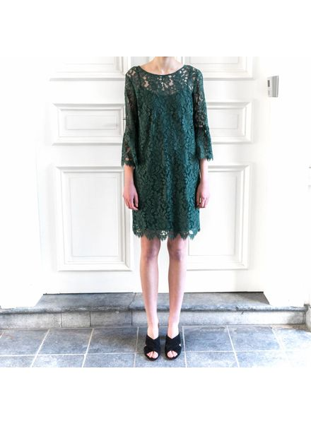 SET Lace dress with trompet sleeve - Green - size 36
