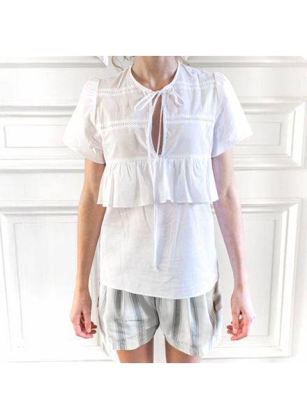 Matin Short Sleeve Ruffle Top - White