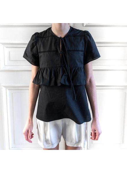Matin Short Sleeve Ruffle Top - Black