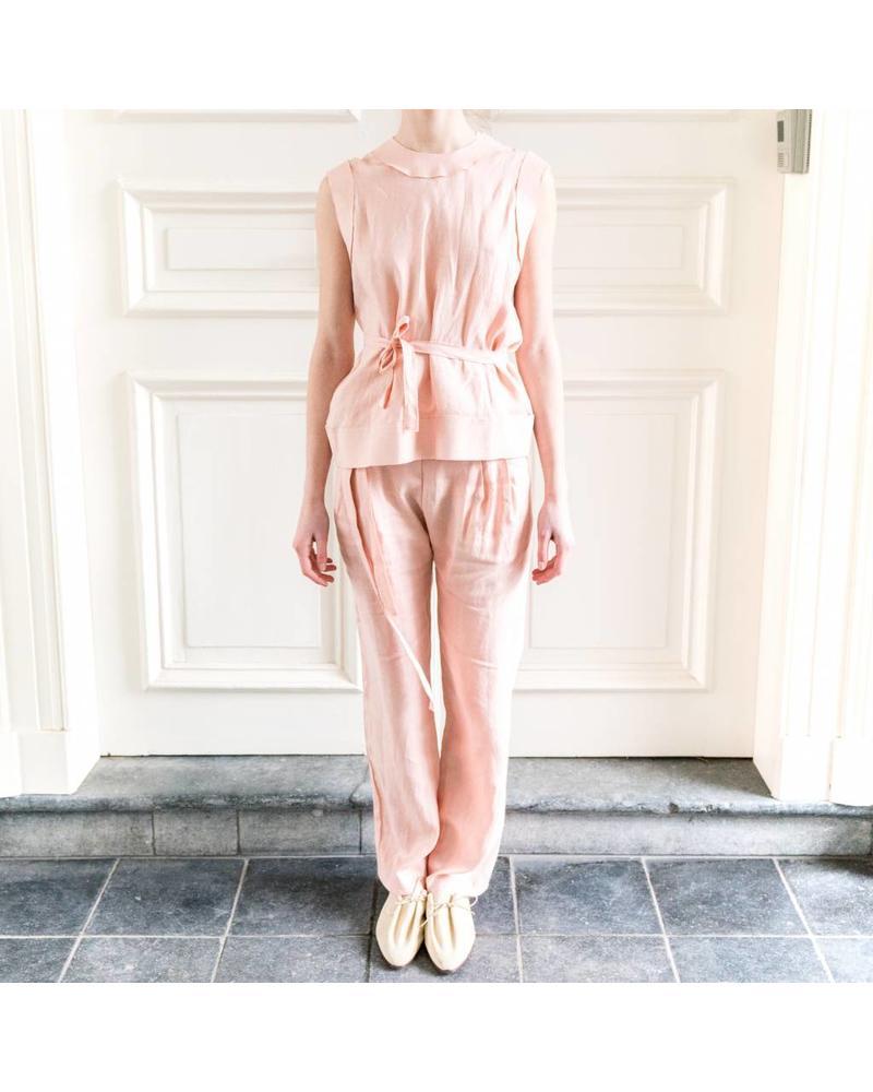 Matin Lace Up Back Vest - Dusty Pink
