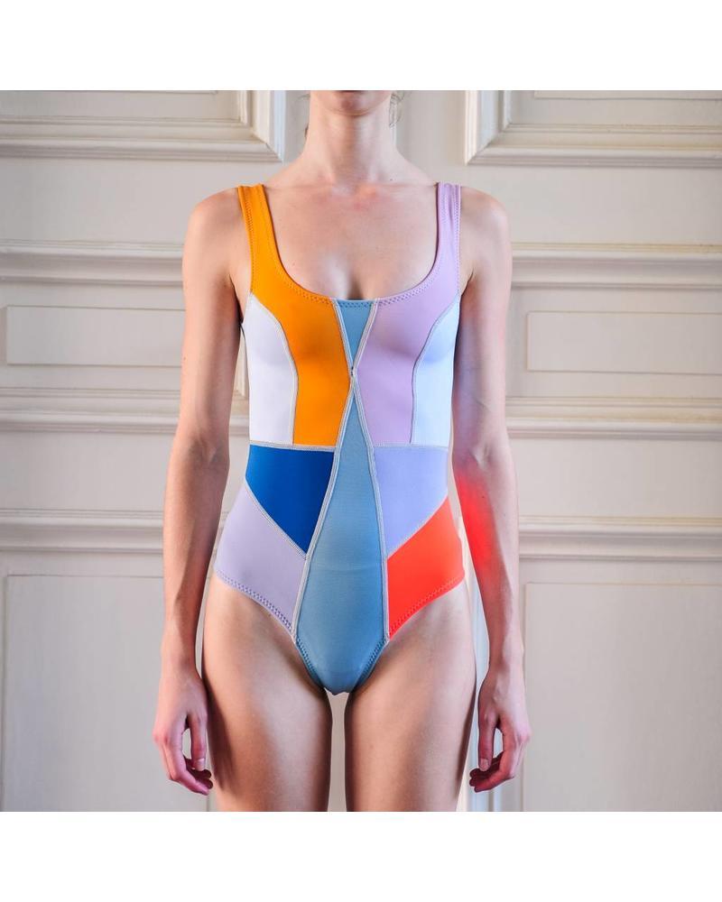 Cynthia Rowley Prism One Piece Swim - Light Blue/Cream