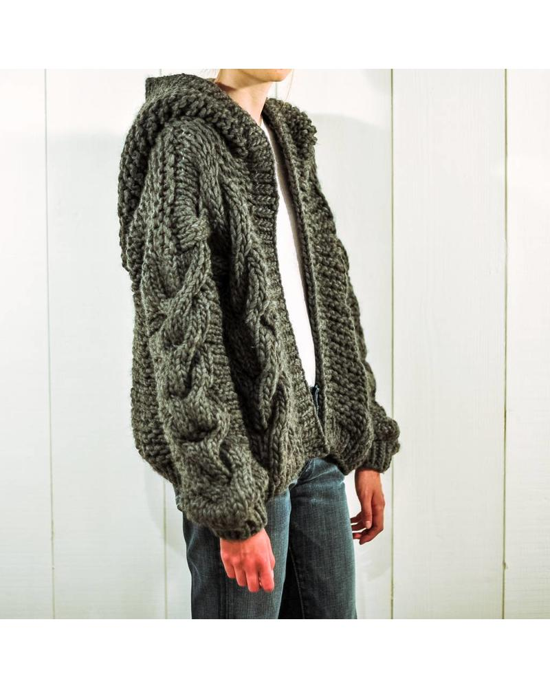 I Love Mr Mittens Cable Hooded Bomber wool - Charcoal