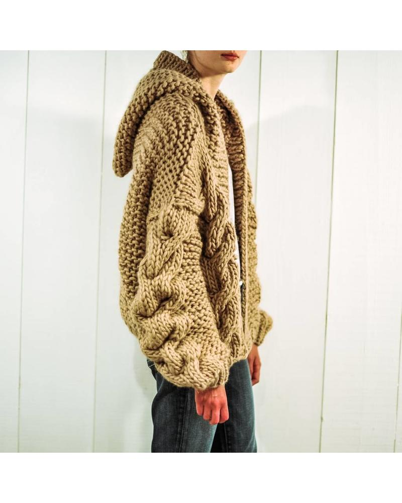 I Love Mr Mittens Cable hooded bomber wool - Taupe
