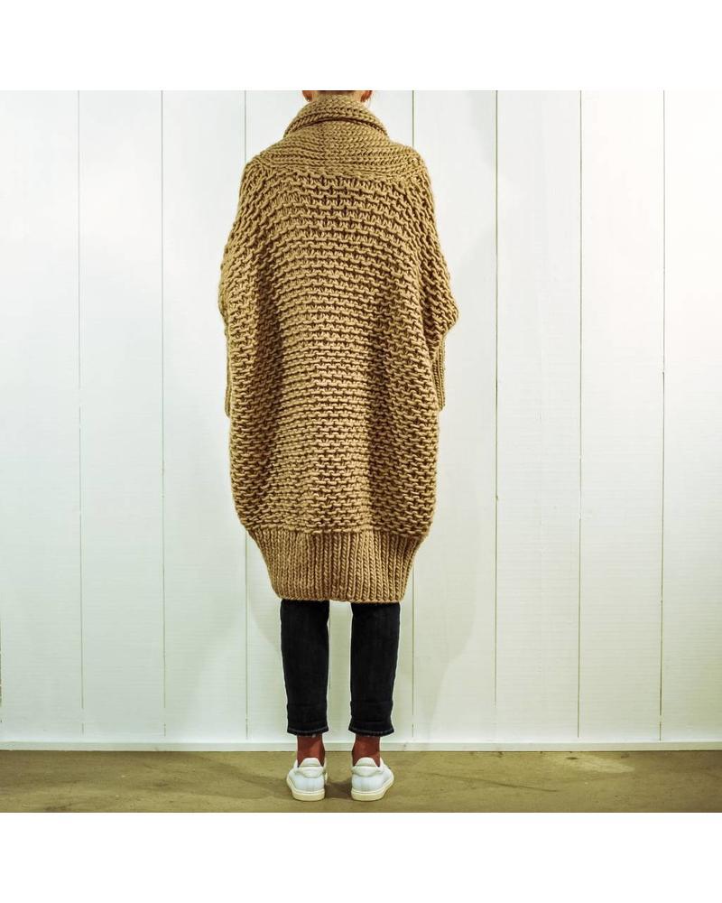 I Love Mr Mittens Pearl stitch Cardigan wool - Taupe