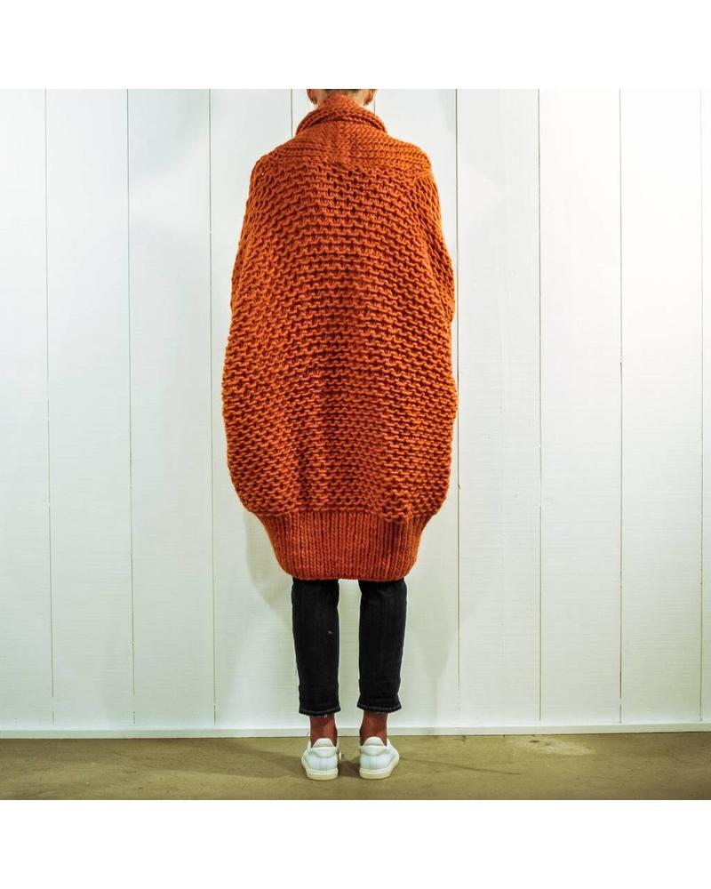 I Love Mr Mittens Pearl stitch Cardigan wool - Burnt Orange OS
