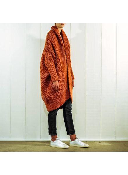I Love Mr Mittens Pearl stitch Cardigan wool - Burnt Orange