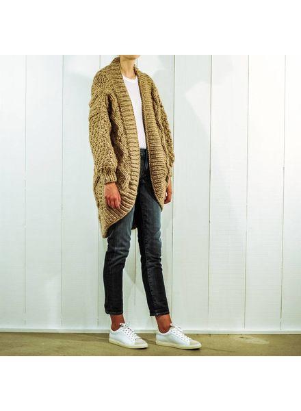 I Love Mr Mittens Aran coat wool - Taupe