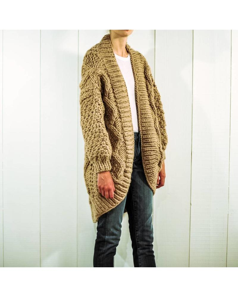 I Love Mr Mittens Aran coat wool - Taupe OS