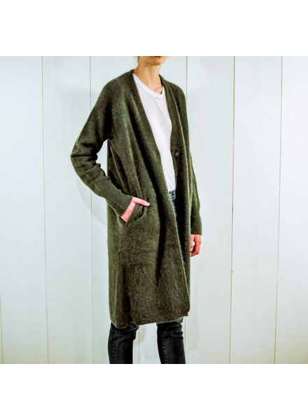 CT Plage Raccoon knitted long cardigan - Khaki