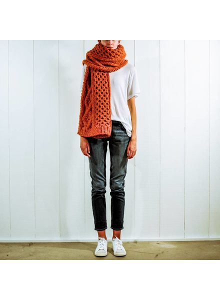 I Love Mr Mittens Aran Scarf - Burnt Orange