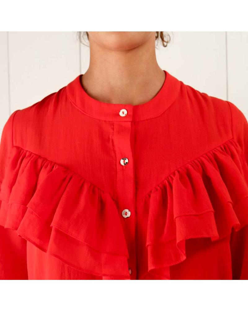Matin Full sleeve Ruffle dress - red 6/34