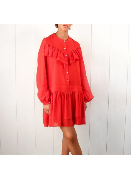 Matin Full sleeve Ruffle dress - red