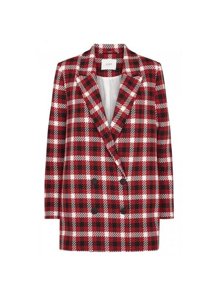 Just Female Holmes Check Blazer - Red