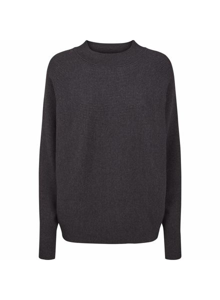 Just Female Home knit - Dark grey melange
