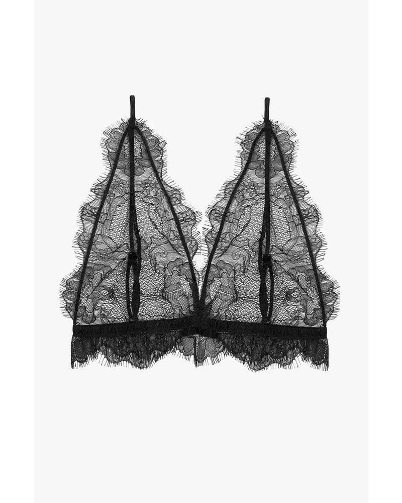 ad7060a9649c0 Anine Bing Delicate Lace Bra - Black ...