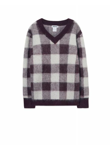 Hope Low sweater - Plum Check
