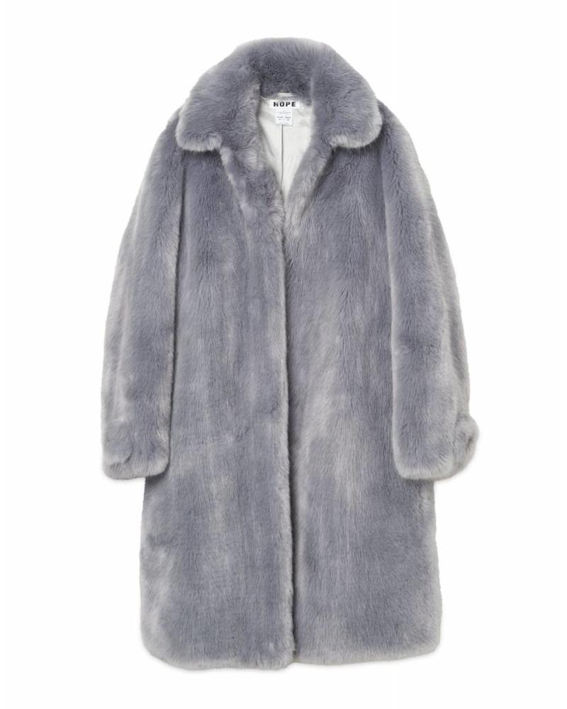 Hope Viva Fur Coat - Blue Grey