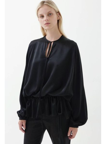 Matin Ede Silk Drawstring Top - Black