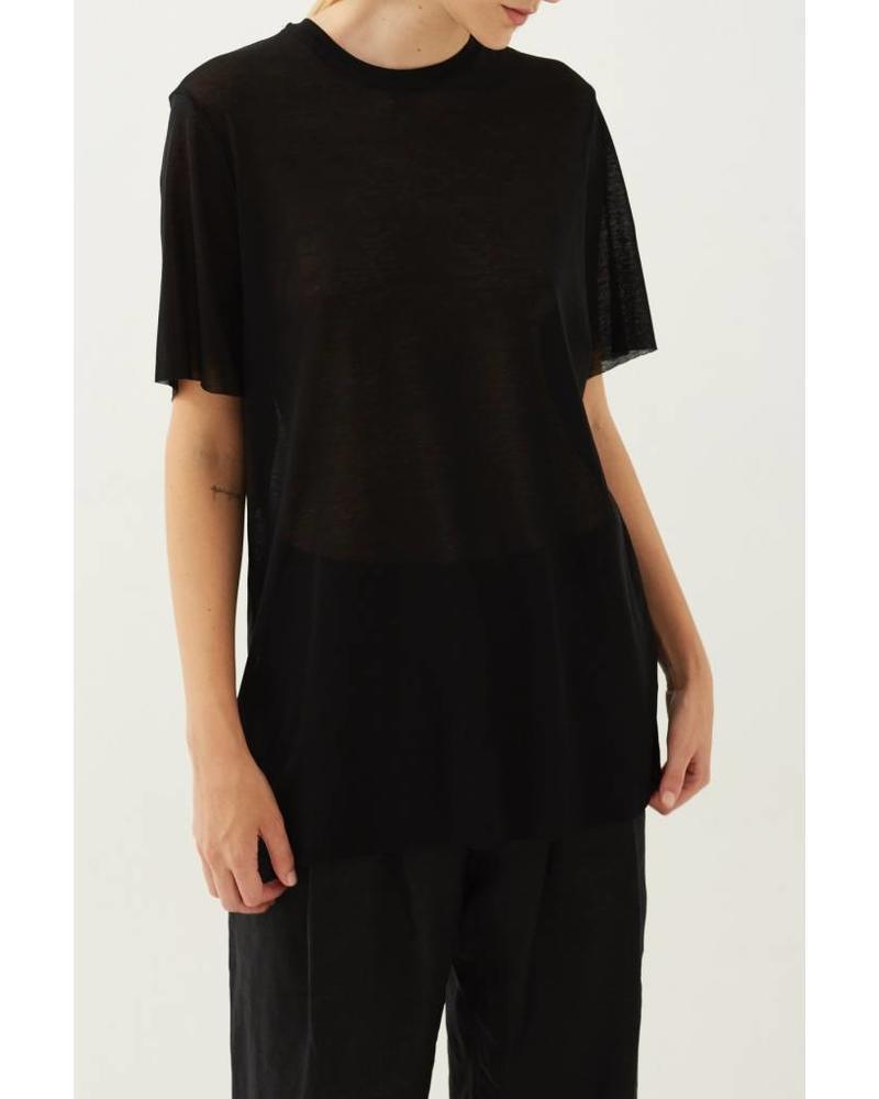 Matin Short Sleeve Fine Knit - Black