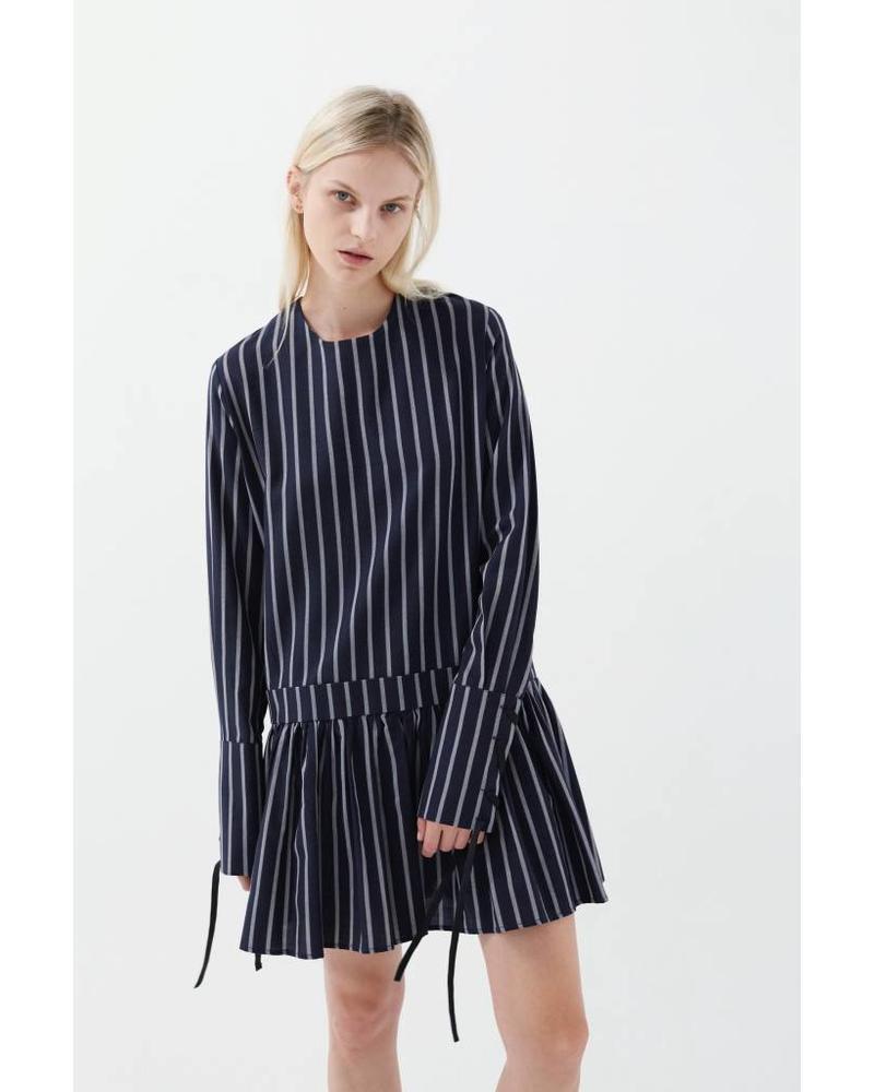 Matin Stripe dress with wide cuff - navy Stripe