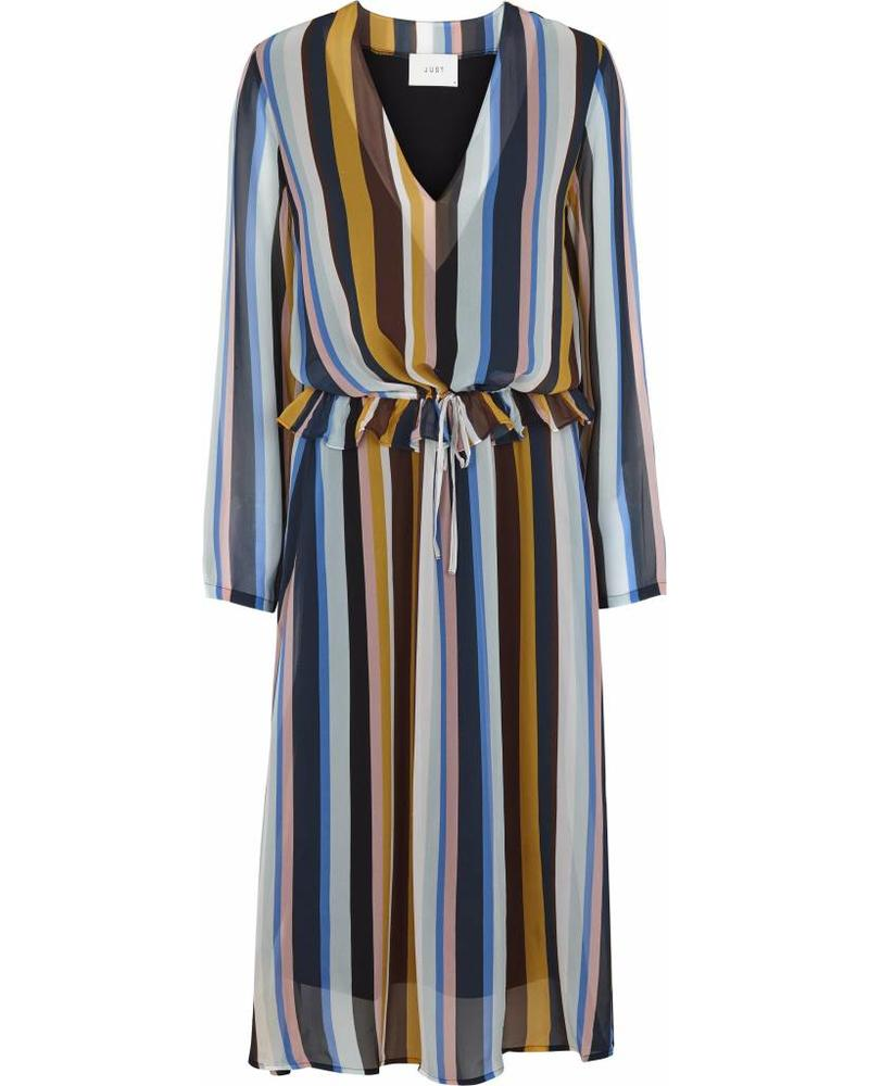 Just Female Romain dress - Multi stripe aop
