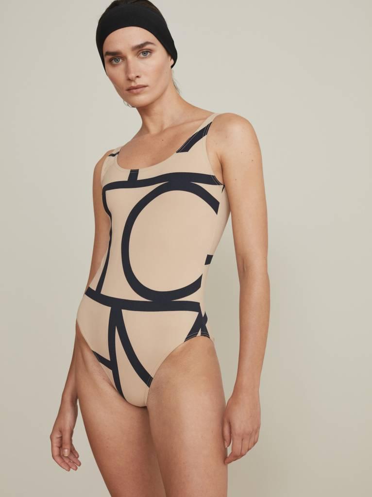 9cd965635fd1d ... Totême Positano swimsuit - Beige monogram ...