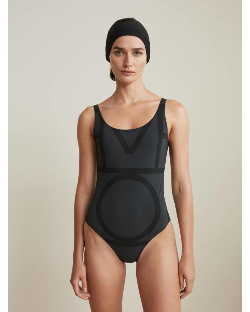 Totême Positano swimsuit - Black monogram