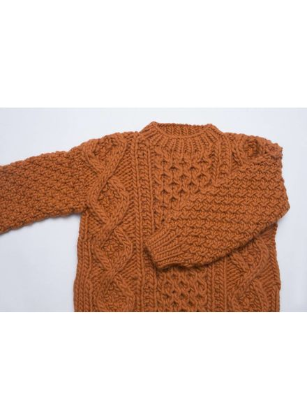 I Love Mr Mittens Aran crew neck wool - Burnt Orange