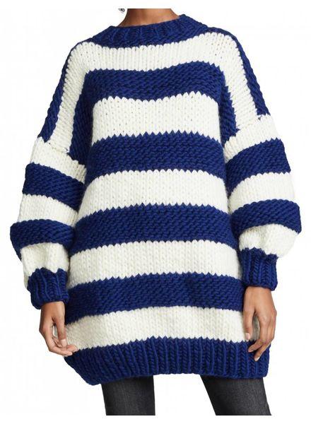 I Love Mr Mittens Striped Crew Neck Jumper Wool - Navy/Cream