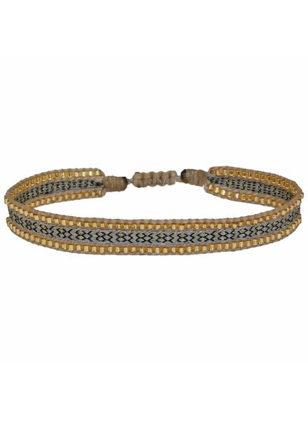 Beaded Bracelet - Beige/Gold