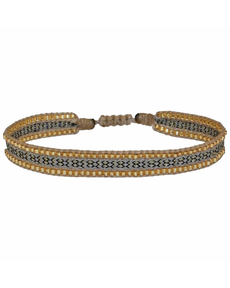 Beaded Bracelet - Beige/Gold